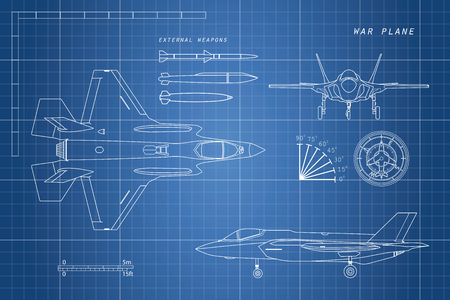 Drawing of military aircraft. Top, side, front views. Fighter jet. War plane with external weapons. Vector illustration. Illustration
