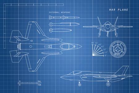 Tekening van militaire vliegtuigen. Boven, zijkant, vooraanzicht. Straaljager. Oorlogsvliegtuig met externe wapens. Vector illustratie. Stock Illustratie