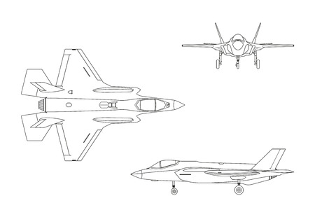 Outline drawing of military aircraft on white background. Top, side, front views. Fighter jet. Vector illustration. Stock Vector - 69594356