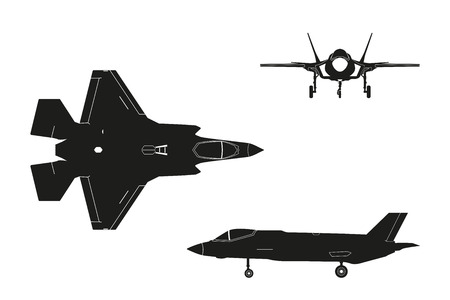 Black silhouette of military aircraft on white background. Top, side, front views. Fighter jet. Vector illustration.
