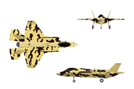 Straaljager. Oorlogsvliegtuig in vlakke stijl. Militaire vliegtuigen in hoogste, zij, vooraanzicht. Vector illustratie. Vector Illustratie
