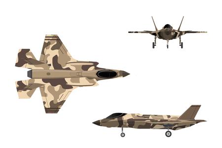 Jet da combattimento. Aereo da guerra in stile piatto. Aerei militari nella parte superiore, laterale, vista frontale. Illustrazione vettoriale