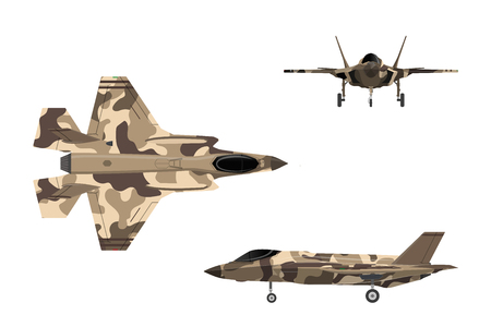 Fighter jet. War plane in flat style. Military aircraft in top, side, front view. Vector illustration. Stock Illustratie