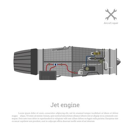 Jet-Motor in einem flachen Stil. Teil des Flugzeugs Seitenansicht. Vektor-Illustration Standard-Bild - 69937204