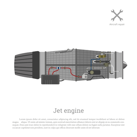 Jet engine in a flat style. Part of the aircraft. Side view. Vector illustration