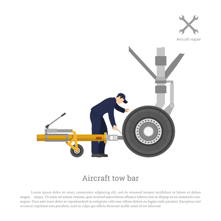 Repair and maintenance of airplane. Mechanical locks the tow bar to the aircraft. Vector illustration
