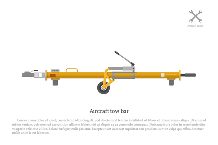 intake: Aircraft tow bar. Aviation equipment for repair and maintenance of airplanes. Vector illustration