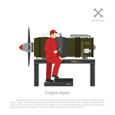 Repair and maintenance of aircraft. The mechanic repairing jet engine of airplane. Vector illustration