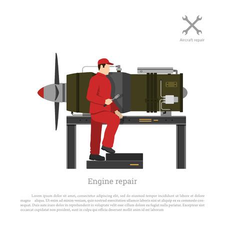 Naprawa i konserwacja statków powietrznych. Mechanik naprawy silnika odrzutowego samolotu. Ilustracji wektorowych