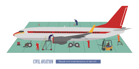 Repair and maintenance of aircraft. Airplane and working in the hangar. Vector illustration