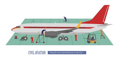 Reparación y mantenimiento de aeronaves. Avión y trabajando en el hangar. Ilustración del vector Ilustración de vector