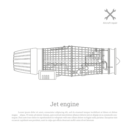 jet airplane: Jet engine in a outline style. Part of the aircraft. Side view. Vector illustration Illustration