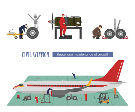 Repair and maintenance of aircraft. Image of workers near the airplane in a flat style. Vector illustration