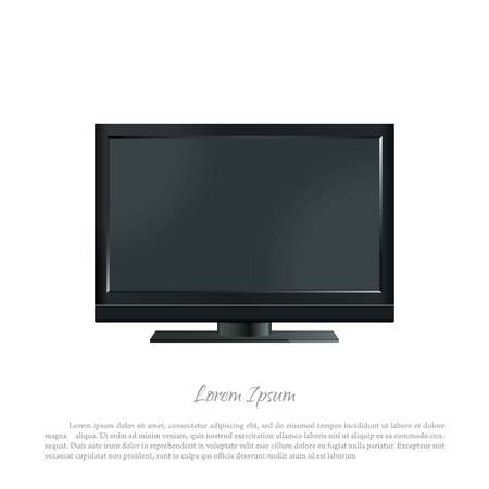 pc monitor: Black PC monitor on a white background