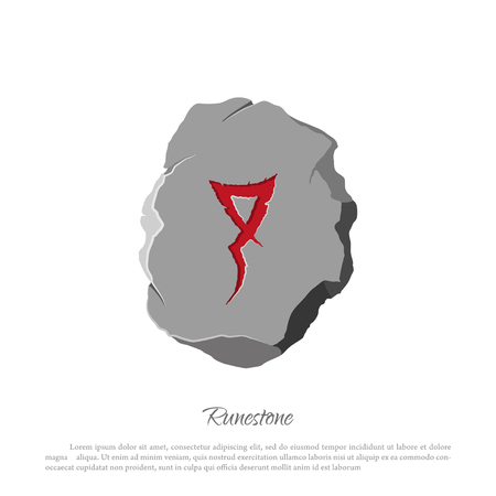 scandinavia: Rune stone on a white layout in cartoon style. The object to the game interface. illustration