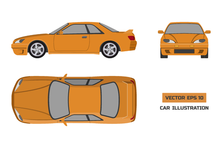 Orange car on a white background. Top, front and side view. The vehicle in flat style. Vector illustration Illustration