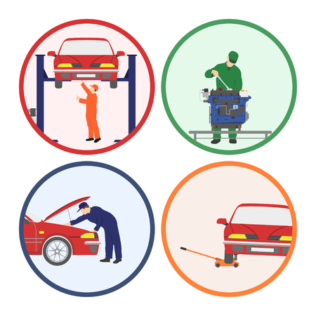 Car repair and maintenance . Vehicle workshop. Auto services images on white background. Vector illustration