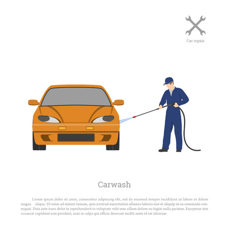 Car wash. Worker washing a automobile on a white background. Repair and maintenance . Vehicle workshop. Auto services image. Vector illustration Illustration