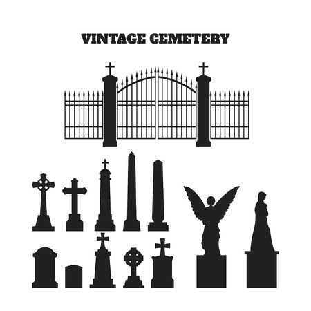 angel cemetery: Black silhouettes of tombstones, crosses and gravestones. Elements of cemetery. Vector illustration Illustration