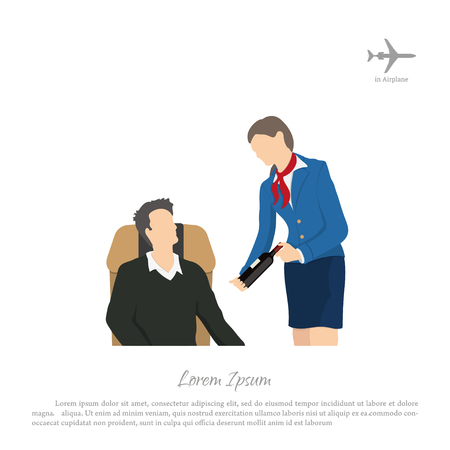 cabin attendant: Stewardess offering wine to the passenger. Crew services. Cabin of aircraft. Vector illustration Illustration
