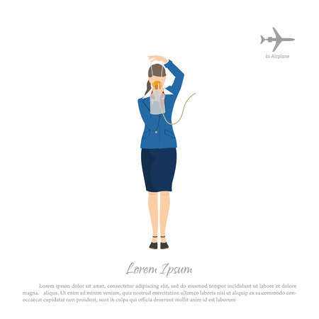 The flight attendant demonstrates the use of an oxygen mask. Stewardess in aircraft cabin. Vector illustration