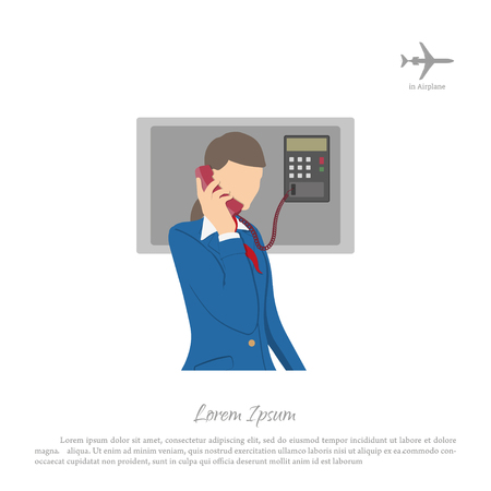 flight crew: Stewardess speaking on the phone of the aircraft. Flight attendant on a white background. Vector illustration
