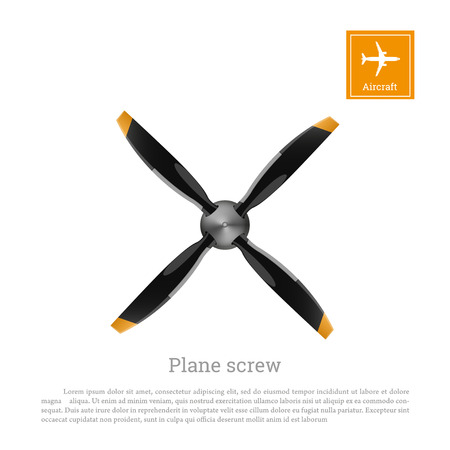 Aircraft screw in flat style. Airplane propeller on white background. Airscrew with four blades. Vector illustration