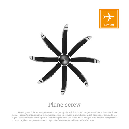 Aircraft screw in flat style. Airplane propeller on white background. Airscrew with eight blades. Vector illustration