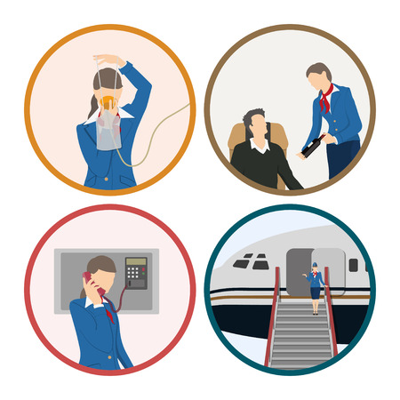 Stewardess serves passengers on the airplane. Attendant woman in uniform. Aircraft crew. Vector illustration
