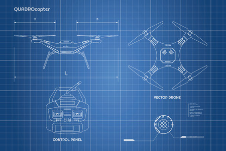 Drawing of drone.  Industrial blueprint The control panel of quadrocopter . Front, top view. Vector illustration