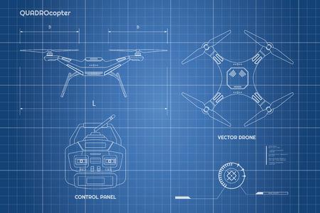 Zeichnung der Drohne. Industrial Blueprint Das Bedienfeld des Quadrokopters. Front, Draufsicht. Vektor-Illustration