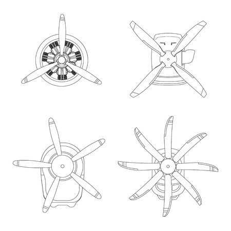 Aircraft engine in outline style. Contour drawing of motor with propeller on white background. Vector illustration