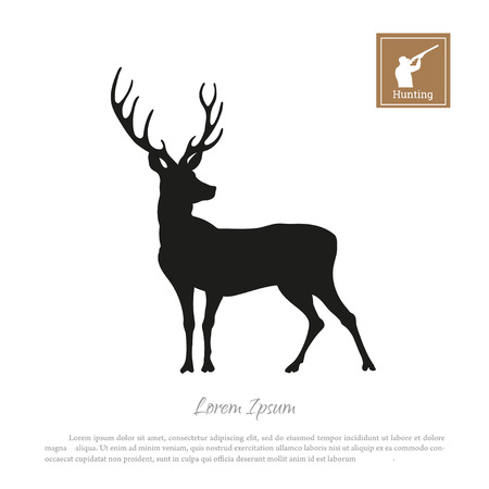Black silhouette of a deer with hunter with a gun icon.