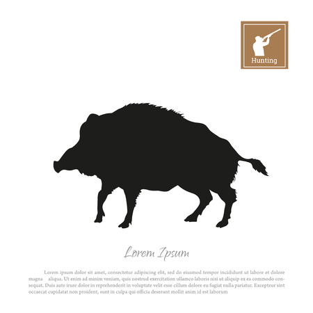 Black silhouette of a boar with icon hunter with a gun.