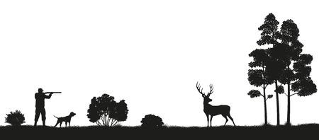 Czarna sylwetka myśliwego i psa w lesie. Polowanie na jelenie. Obraz dzikiej przyrody. Ilustracji wektorowych