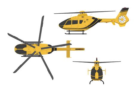 Oranje helikopter op een witte achtergrond. Zij, voorkant, bovenaanzicht. illustratie