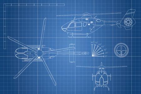 Modelo de engenharia de helicóptero. Visão de helicópteros: topo, lado, frente. Desenho industrial. Ilustração vetorial Foto de archivo - 74952347