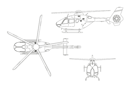 Umrisszeichnung des Hubschraubers auf weißem Hintergrund. Oberseite, Seite, Vorderansicht. Technische Blaupause. Vektor-Illustration