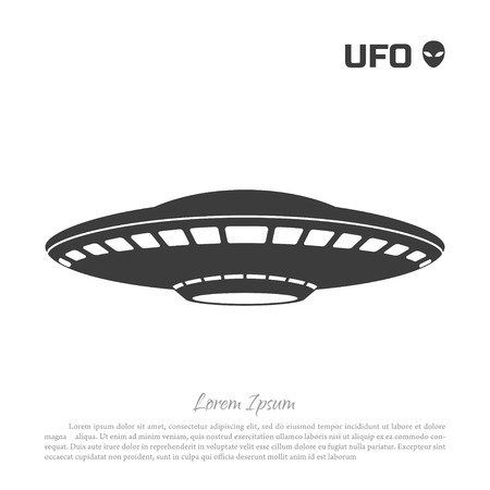 Black silhouette ofa UFO on  white background. Vector illustration