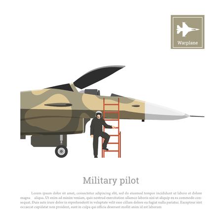 軍用機の飛行のための準備のパイロット。迷彩色の戦争飛行機。ベクトル図