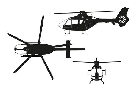 Schwarzes Schattenbild des Hubschraubers auf weißem Hintergrund. Oberseite, Seite, Vorderansicht. Isolierte Zeichnung. Vektor-Illustration