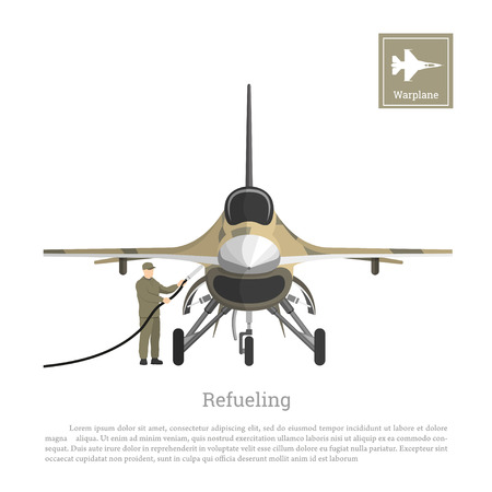 Refueling of a military aircraft. Repair and maintenance of airplane. Aerospace industry. Vector illustration