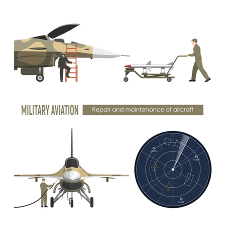 Military airplane. Repair and maintenance of war aircraft. Aerospace industry. Vector illustration