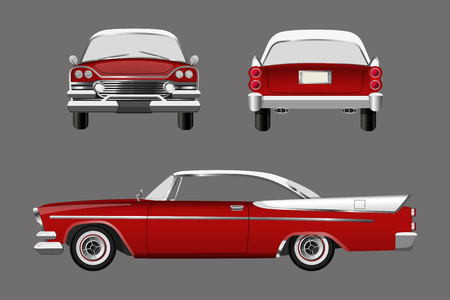 Red retro car on gray background. Vintage cabriolet in a realistic style. Front, side and back view. Иллюстрация