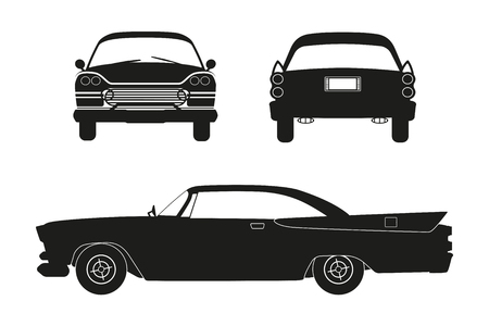 Silhouette of retro car. Vintage cabriolet. Front, side and back view. Illustration