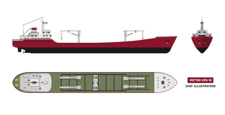 Frachtschiff auf einem weißen Hintergrund. Draufsicht, Seitenansicht und Vorderansicht. Containertransport im flachen Stil.