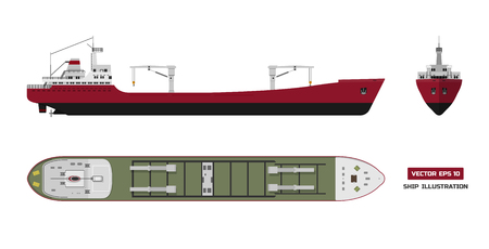 Cargo ship on a white background. Top, side and front view. Container transport in flat style. Vettoriali