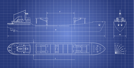 Blueprint of cargo ship on a white background