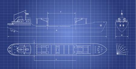 Blueprint de buque de carga sobre un fondo blanco