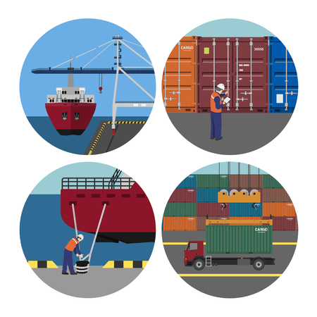 Port services. Loading containers on ships